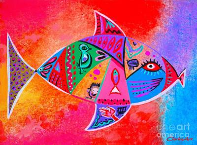 Painting - Graffiti Fish by Jean Clarke