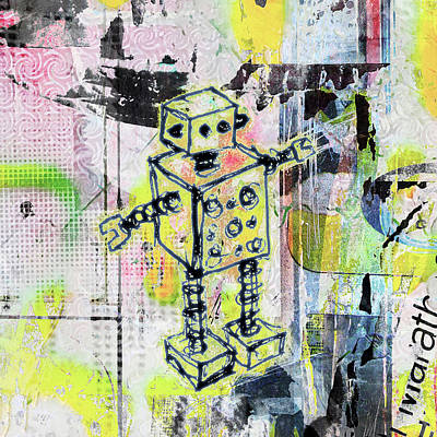 Drawing - Graffiti Graphic Robot by Roseanne Jones