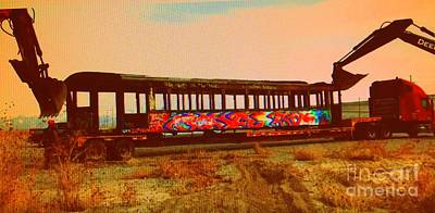 Photograph - Graffiti Laden Rusted Out Saltair Train Car Scrapped February 18 2012 by Richard W Linford