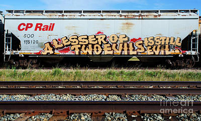 Spray Paint Cans Photograph - Graffiti Lesser Of Two Evils 1 by Bob Christopher