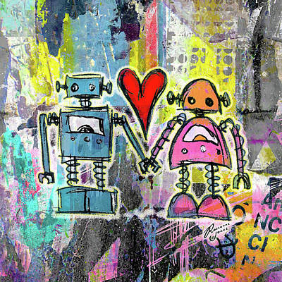 Digital Art - Graffiti Pop Robot Love by Roseanne Jones