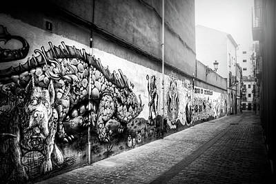 Photograph - Graffiti Street Valencia Spain In Black And White  by Carol Japp