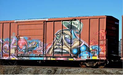Train Digital Art - Graffiti Train Car by Laura Botsford