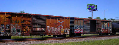 Photograph - Graffiti Train With Billboard by Anne Cameron Cutri