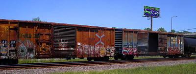 Travel - Graffiti Train with billboard by Anne Cameron Cutri