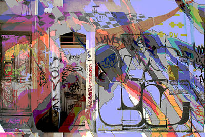 Graffitis Front Door Art Print by Martine Affre Eisenlohr
