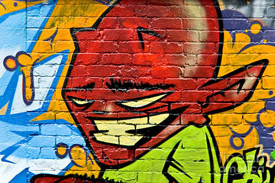 Vandalize Painting - Graffity Demon On The Textured Brick Wall by Yurix Sardinelly