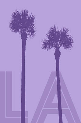 California Landscape Art Digital Art - Grafikkunst Palmen La - Violet by Melanie Viola