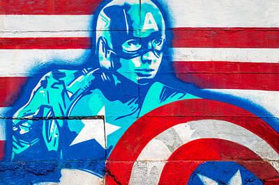 Captain America Photograph - Grafitti Art Captian America by Jon Manjeot
