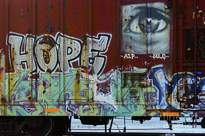 Of Artist Photograph - Grafitti Art Riding The Rails 6 by Bob Christopher