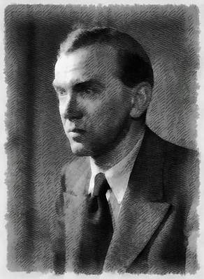 Graham Greene, Author Art Print by John Springfield
