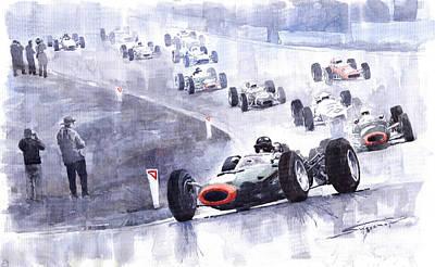 F1 Painting - Graham Hill Brm P261 Belgian Gp 1965 by Yuriy Shevchuk