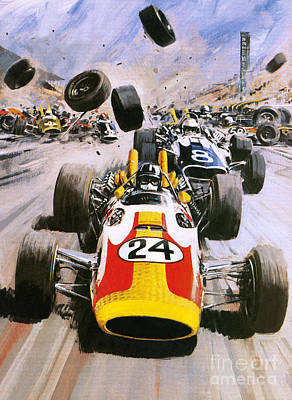 Motor Racing Painting - Graham Hill by Graham Coton