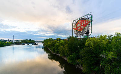 Photograph - Grain Belt Beer Sign On River by Mike Evangelist