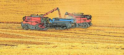 Photograph - Grain Cart Two Combines 2 by Jerry Sodorff