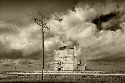 Photograph - Grain Elevator At Dog River In Sepia Tone by Randall Nyhof