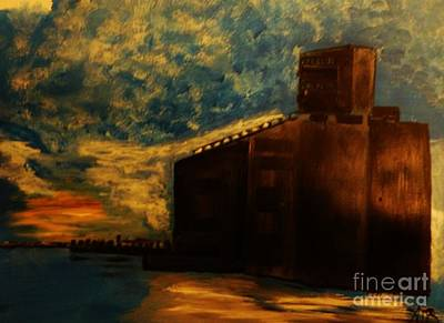 Painting - Grain Elevator On Lake Erie From A Photo By Nicole Bulger by Marie Bulger