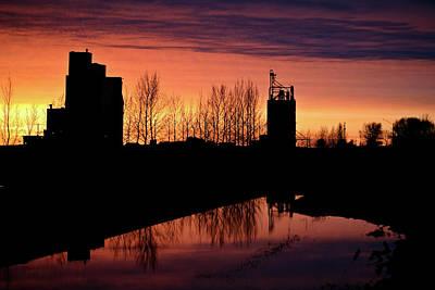 White River Scene Digital Art - Grain Elevator Reflection Sunset by Mark Duffy