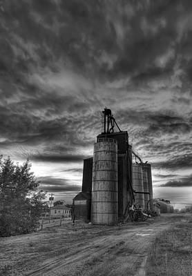 Photograph - Grain Elevators At Dusk 2 Black And White by Art Whitton