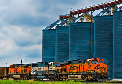 Photograph - Grain Silos And Bnsf Train by Ginger Wakem