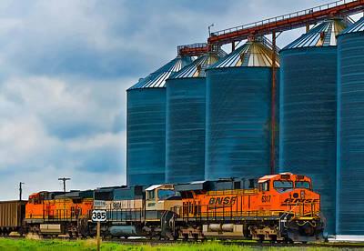 Photograph - Grain Silos And Bnsf Train by Ginger Wakem
