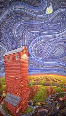 Grain Elevator Painting - Grain Tower IIi by Scott Kirby