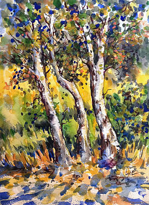 Painting - Grainery Poplars by Lynne Haines