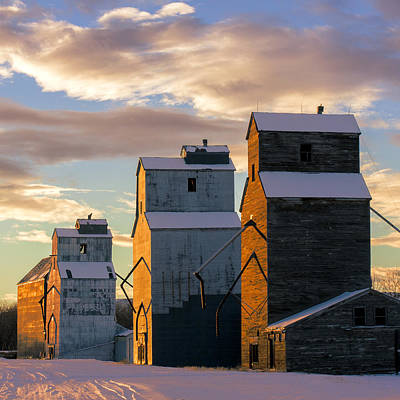 Country Snow Photograph - Grainery Row Square by Todd Klassy