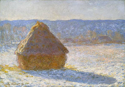 Stack Painting - Grainstack, Snow Effect by Claude Monet