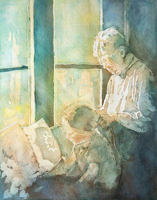 Grandmother Painting - Gramdma Braids by Jenny Armitage