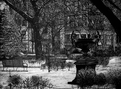 Cities Drawings - Gramercy Park by Jerry Winick