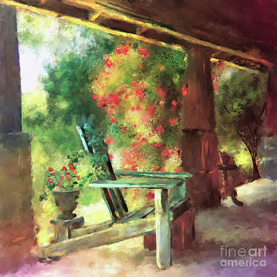 Art Print featuring the digital art Gramma's Front Porch by Lois Bryan