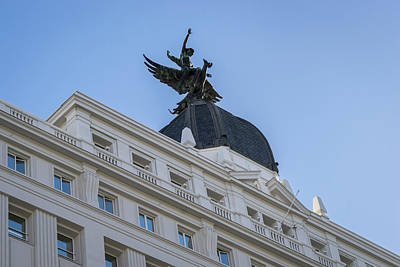 Photograph - Gran Via Madrid - Whimsical Winged Creature And A Rider by Georgia Mizuleva