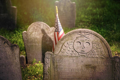 Headstone Photograph - Granary Burying Ground Boston  by Carol Japp