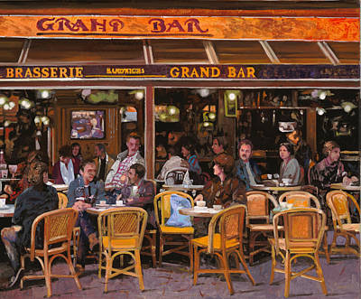 Paris Street Scene Painting - Grand Bar by Guido Borelli