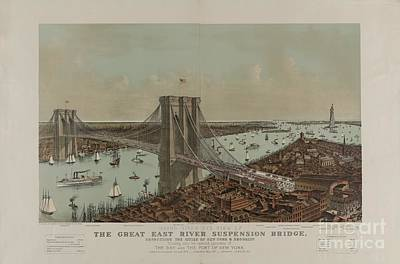 Suspension Bridge Painting - Grand Birds Eye View Of The Great East River Suspension Bridge Connecting The Cities Of New York by Celestial Images
