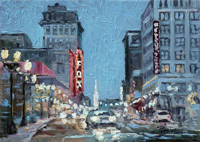Painting - Grand Boulevard At Night, St.louis by Irek Szelag