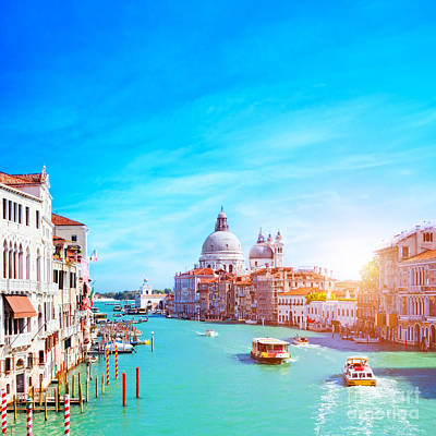 Photograph - Grand Canal And The Salute In Venice by Michal Bednarek