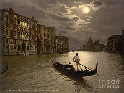 Photograph - Grand Canal By Moonlight, 1890s by Science Source