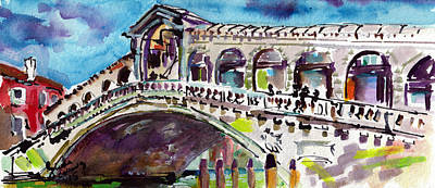 Painting - Grand Canal Rialto Bridge by Ginette Callaway