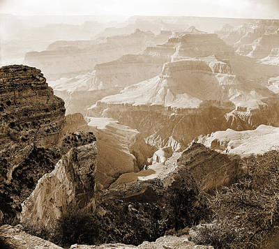 Photograph - Grand Canyon Arizona Fine Art Photograph In Sepia 3524.01 by M K Miller