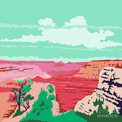 Grand Canyon Digital Art - Grand Canyon Arizona Wpa by Aloysius Patrimonio