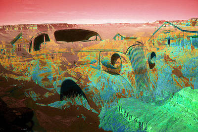 Photograph - Grand Canyon Car - Fantasy Artwork by Art America Gallery Peter Potter