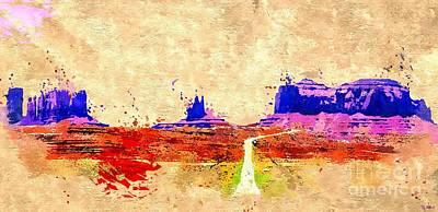 Grand Canyon Mixed Media - Grand Canyon Colored Grunge by Daniel Janda