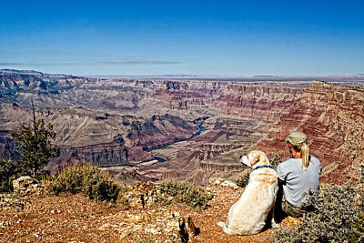 Photograph - Grand Canyon Girl And Dog by Waterdancer