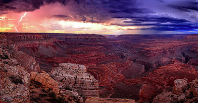 Photograph - Grand Canyon Lightning Panorama by Johnny Adolphson