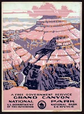 Grand Canyon Mixed Media - Grand Canyon - National Park - United States - Retro Travel Poster - Vintage Poster by Studio Grafiikka