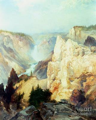 Waterfalls And Trees Landscape Painting - Grand Canyon Of The Yellowstone Park by Thomas Moran