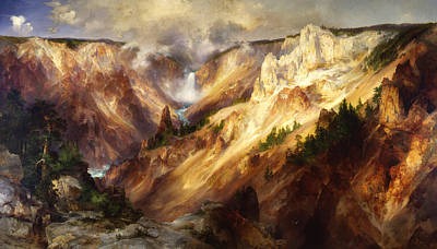 Yellowstone Digital Art - Grand Canyon Of The Yellowstone by Thomas Moran