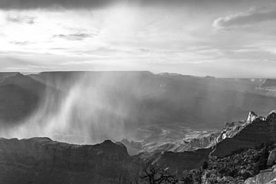 Photograph - Grand Canyon Rain Storm Black And White by John McGraw